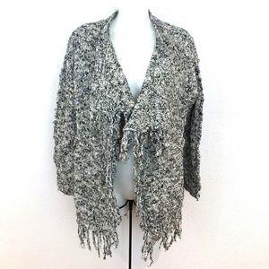 Sun & Shadow chunky Fringe Cardigan sweater Wool